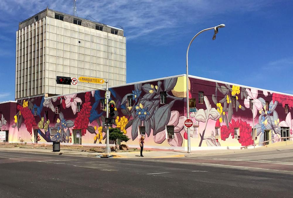 A botanical mural on a corner of downtown Albuquerque.