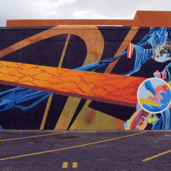 Dramatic and colorful mural of abstract shapes with lots of motion. It looks like outerspace.