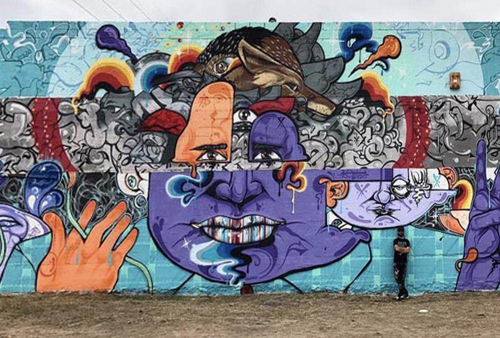 mural of scrambled face