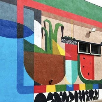 mural on abounding that looks like the farmers market but flat
