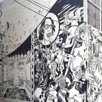 Black and white mural by Larry Bob Phillips