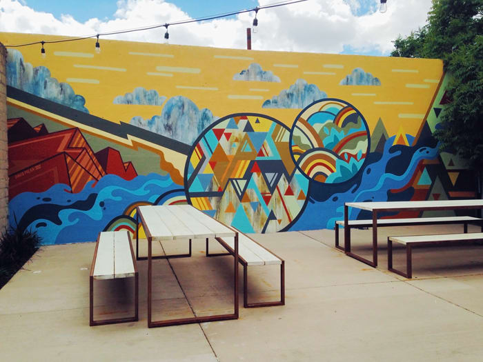 Abstract mural on patio at Zendo Coffe in Downtown Albuquerque