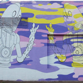 robot peace in a mural