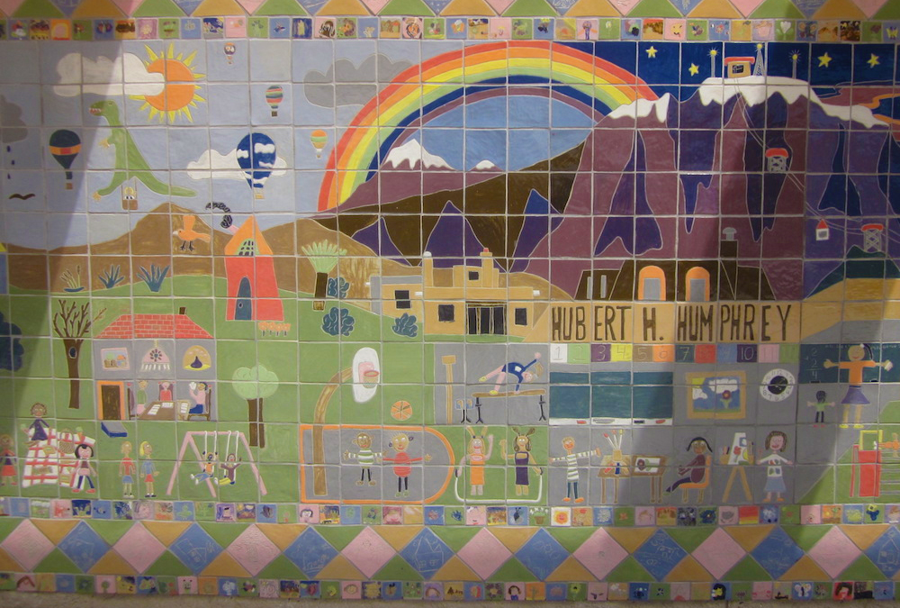 school yard scene in a mural