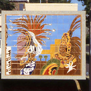 mural of feathered figures
