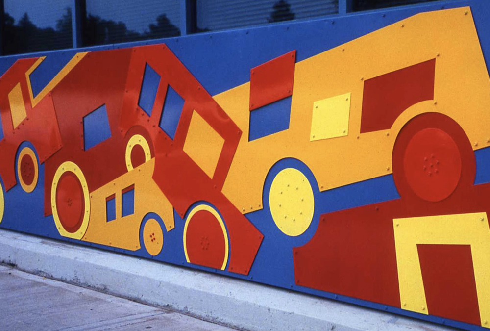 mural of metal block car pile-up