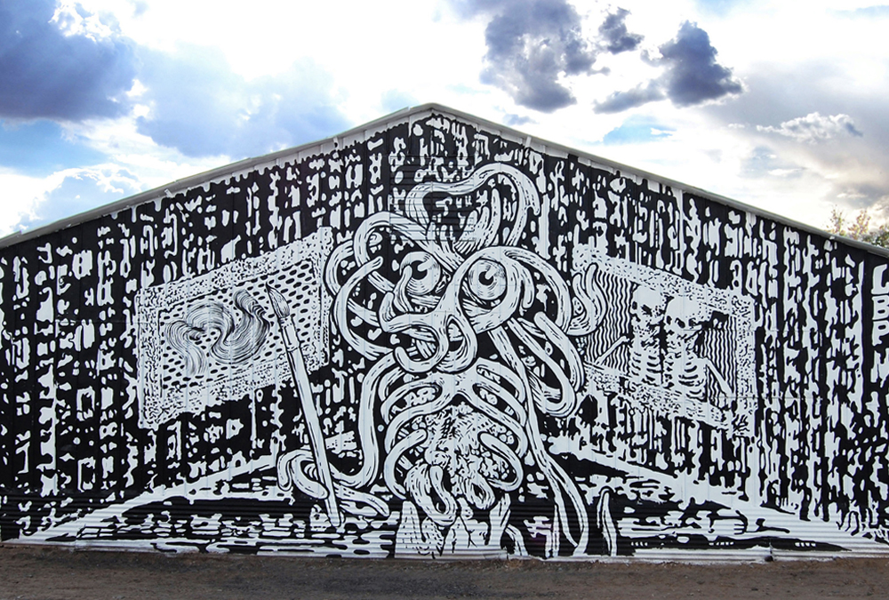 black and white spaghetti monster mural painting