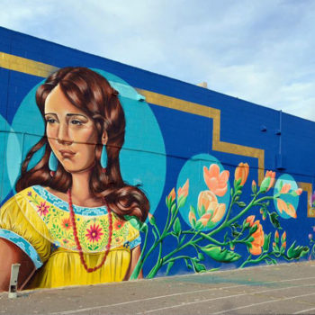 Mucha style girl with flowers mural painting