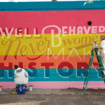 mural of letters and lines of color