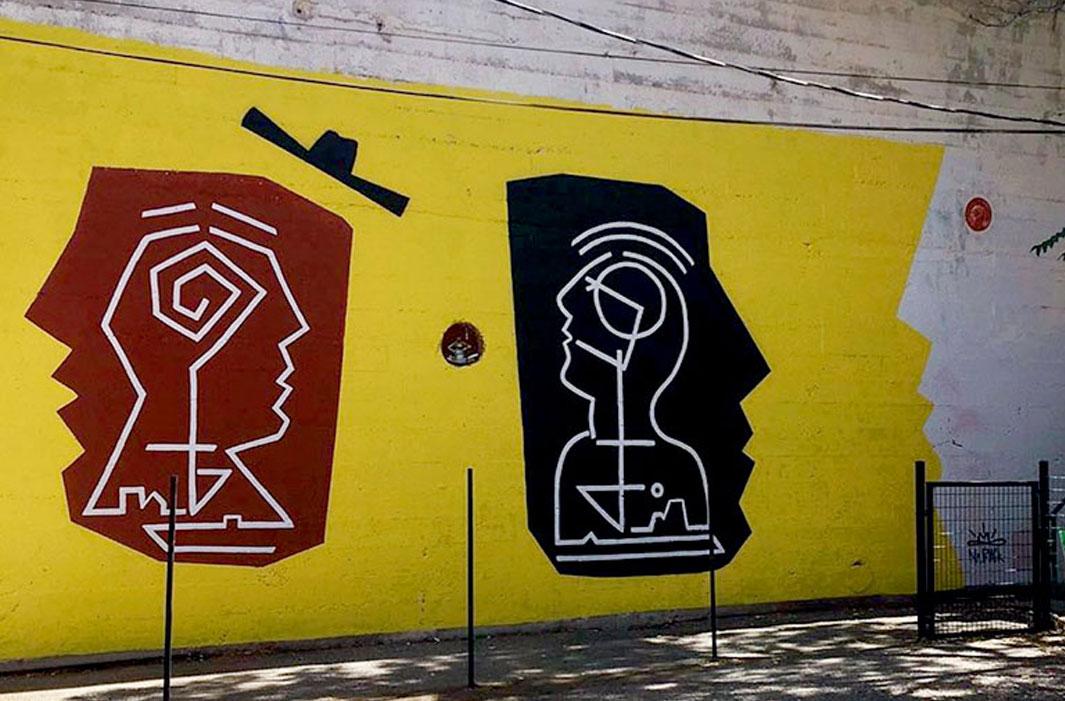 mural of block faces