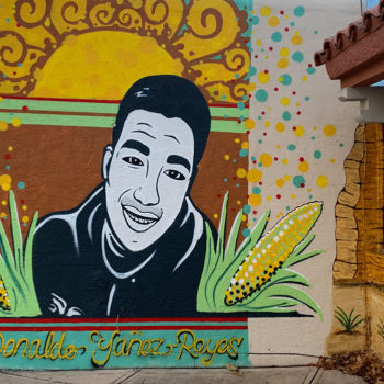 mural of boy with corn