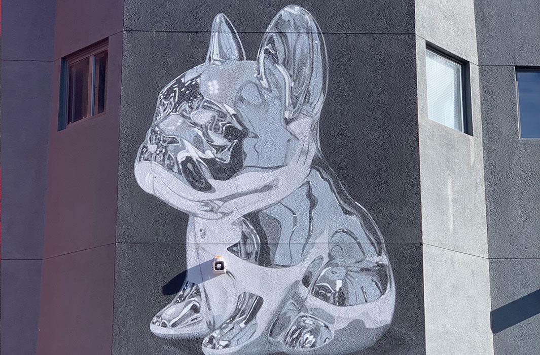 mural of French Bulldog in Chrome