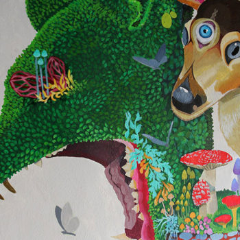 mural of enchanted animal forest