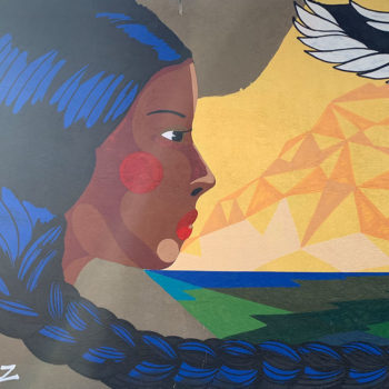 mural of woman with braided hair