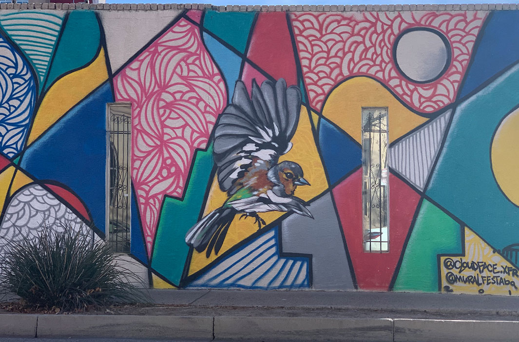 mural of song bird cubism