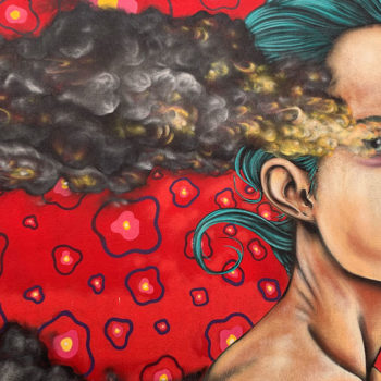 mural of woman with smoking eyes