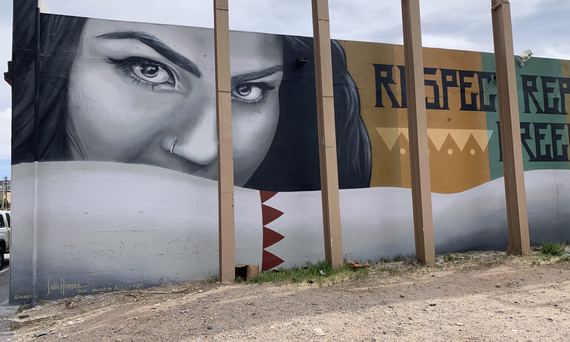 large face of woman with mural title
